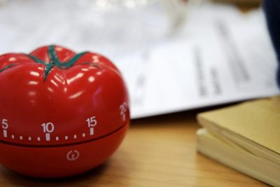 tomato timer being used with the pomodoro technique