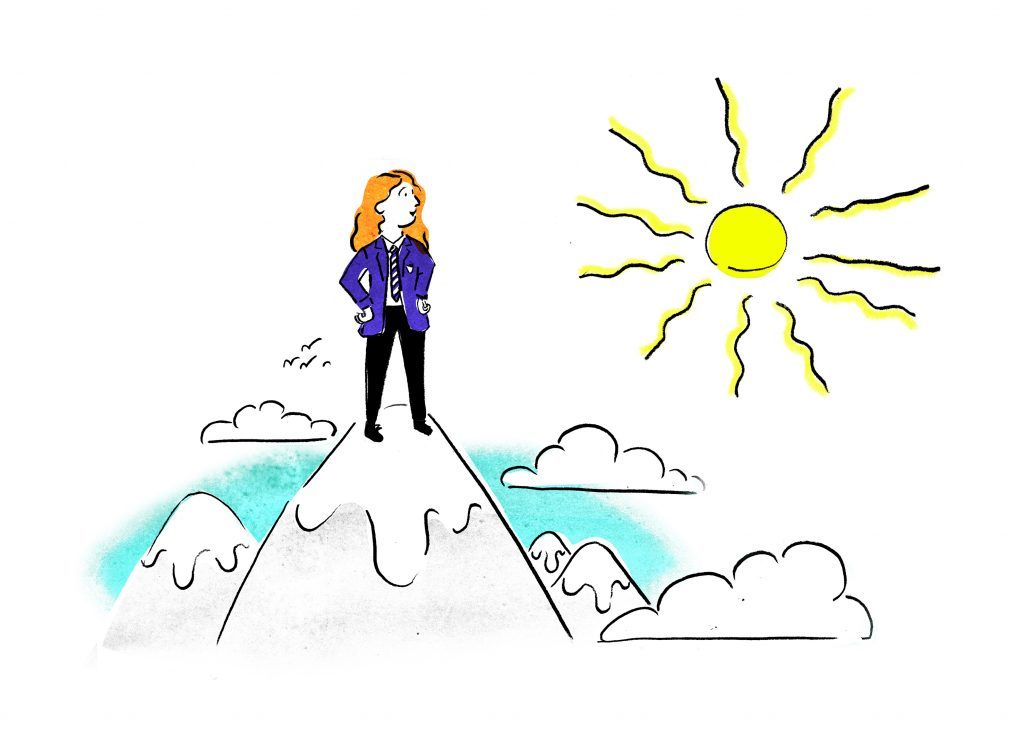 illustration-teenage-girl-on-mountains-looking-at-sun